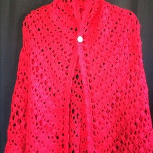 Accessories - Handmade red cape/shawl with bling
